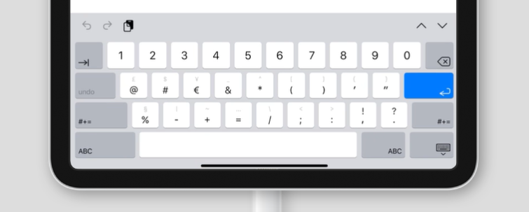 virtual keyboard for inputmode='decimal' on an iPad
