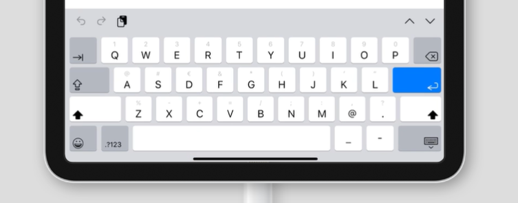 virtual keyboard for inputmode='email' on an iPad