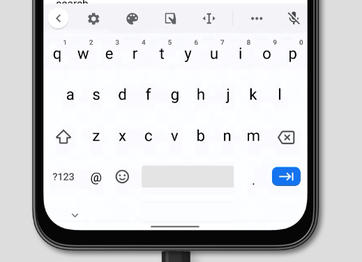 virtual keyboard for inputmode='email' on Chrome on Android