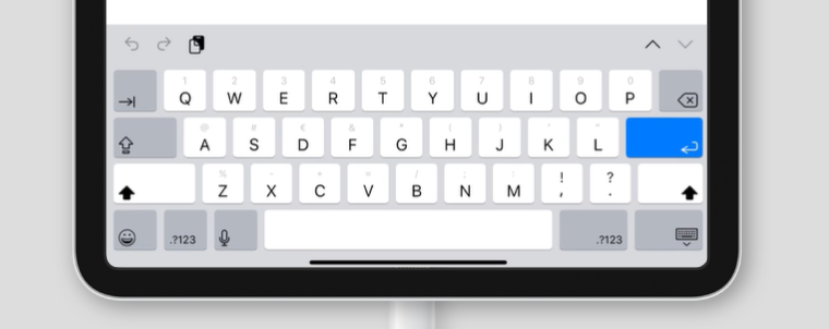 virtual keyboard for inputmode='search' on an iPad