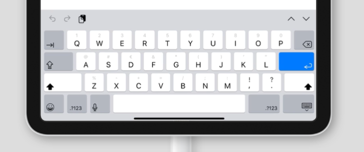 default virtual keyboard on an iPad
