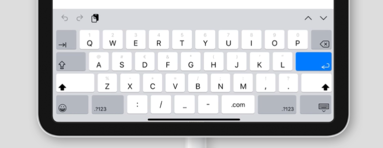 virtual keyboard for inputmode='url' on an iPad